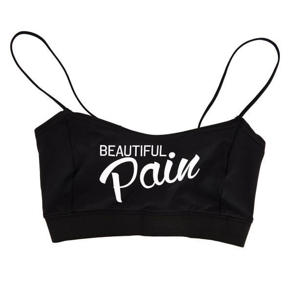 Stanik Wake Up And Squat BRA TOP Pain Black  White