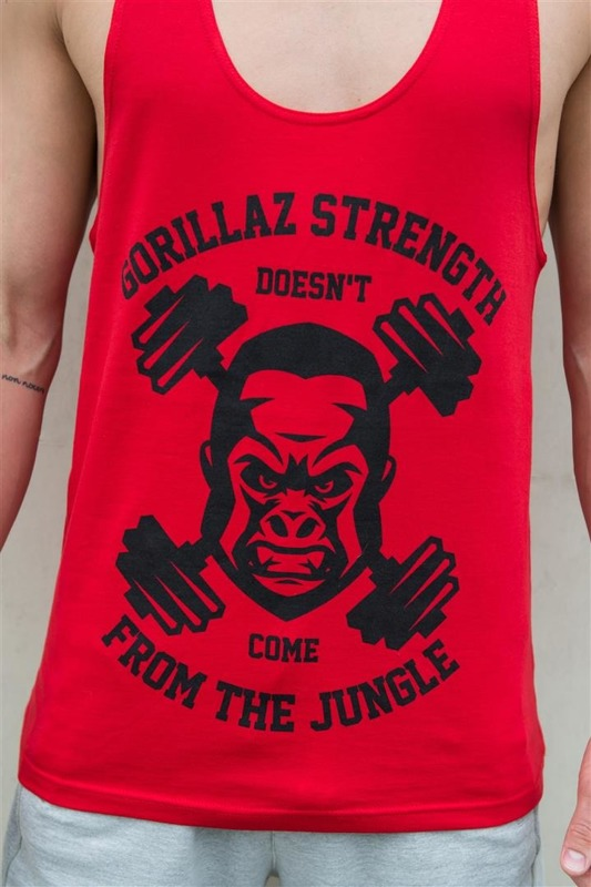 Tank Top WU amp S GORILLAZ STRENGTH Red