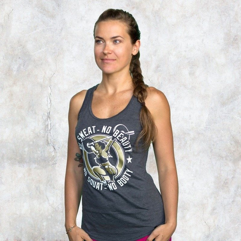Women's Fit Addicts Tank Top No Sweat No Beauty Gray Melange