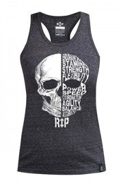 Rep In Peace Skill Skull Women's Tank Top Gray