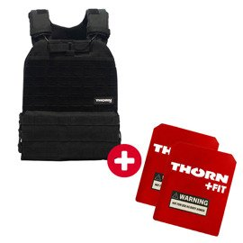 Tactical Vest Set Thorn Fit BLACK + Set of Thorn Fit Plates [Murph Woman 14 lbs / 6.5 kg]