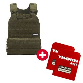 Tactical Vest Set Thorn Fit GREEN + Set of Thorn Fit Plates [Murph Woman 14 lbs / 6.5 kg]