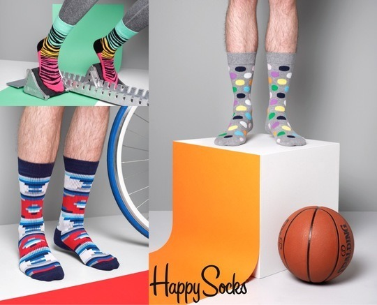 Skarpety Happy Socks Athletic Smiley Niebieskie
