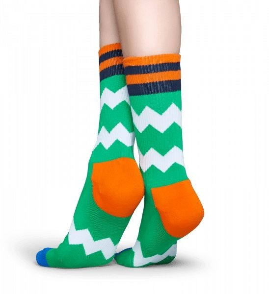 Skarpety Happy Socks Athletic Zig Zag Zielone