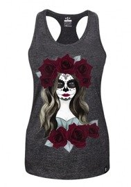 Tank Top damski Rep In Peace santa muerte grafitowy